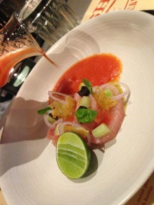 Marinated hamachi with gazpacho dressing