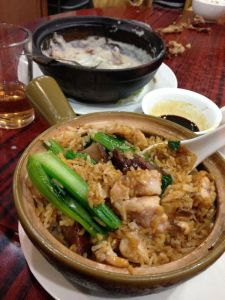 Chinese sausage with chicken claypot rice