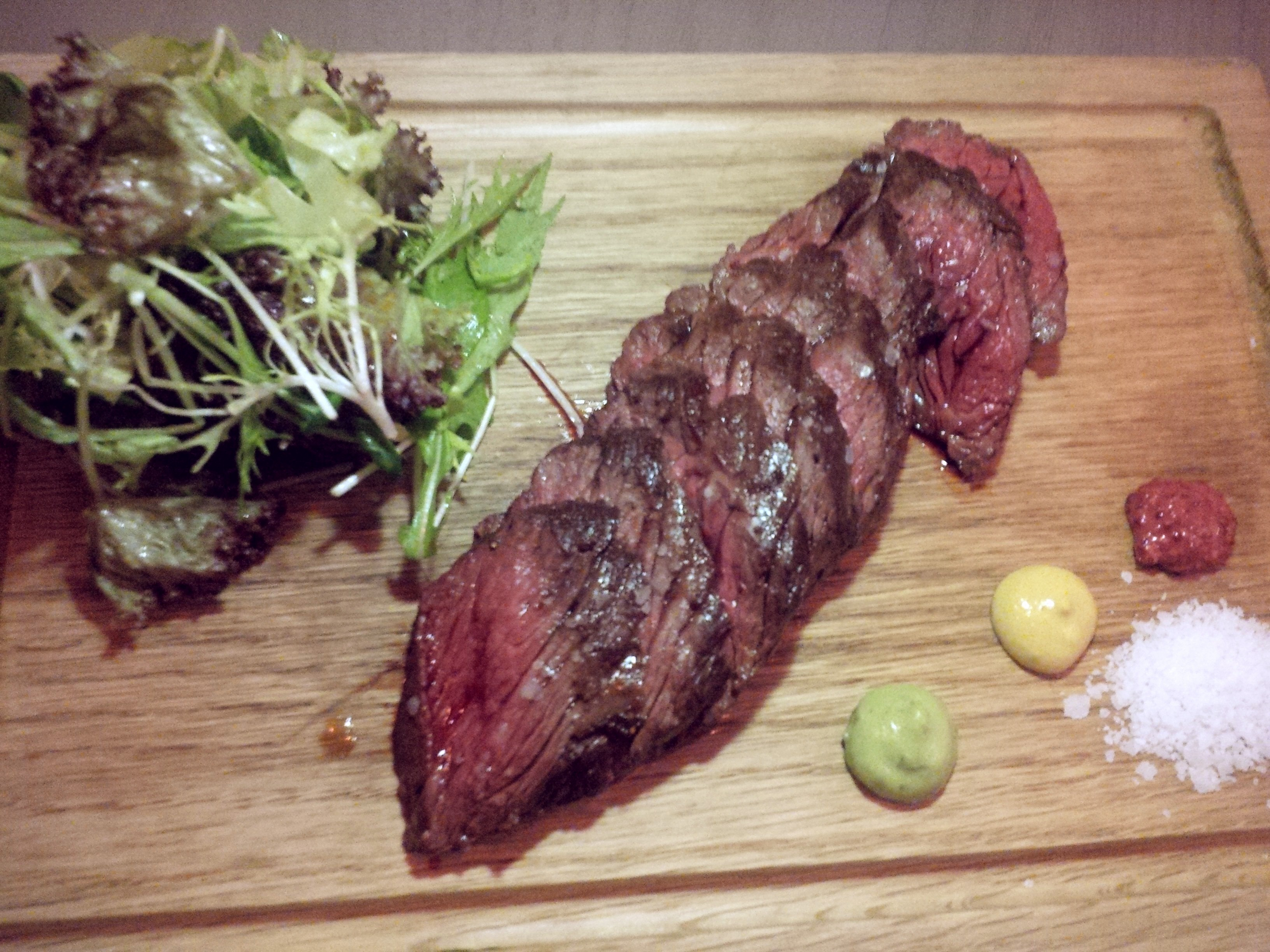 Grilled hanger steak was